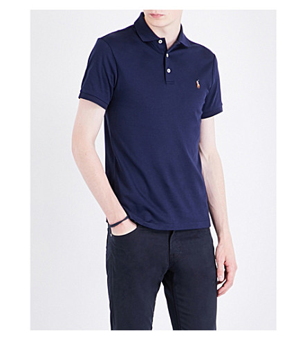 POLO RALPH LAUREN Pony-motif cotton polo shirt (French+navy