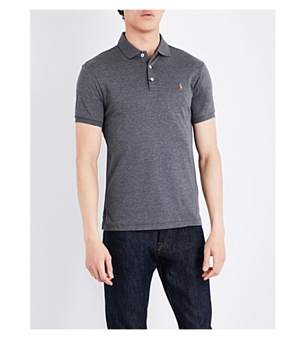 POLO RALPH LAUREN Pony-motif cotton polo shirt (Stadium+grey+he