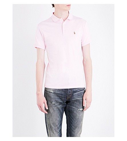 POLO RALPH LAUREN Slim-fit cotton polo shirt (Bath+pink