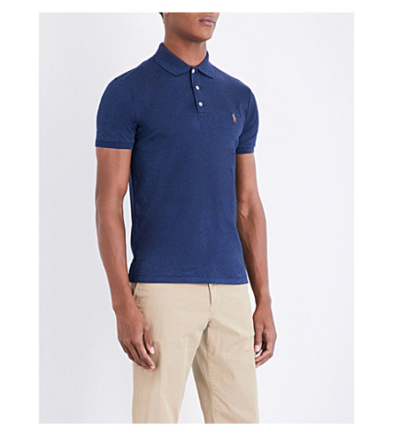 POLO RALPH LAUREN Slim-fit cotton-jersey polo shirt (Monroe+blue+hea