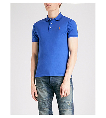 POLO RALPH LAUREN Slim-fit cotton-jersey polo shirt (Provincetown+blue