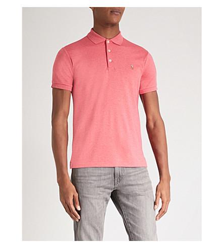 POLO RALPH LAUREN Slim-fit soft-touch cotton polo shirt (Salmon+heather