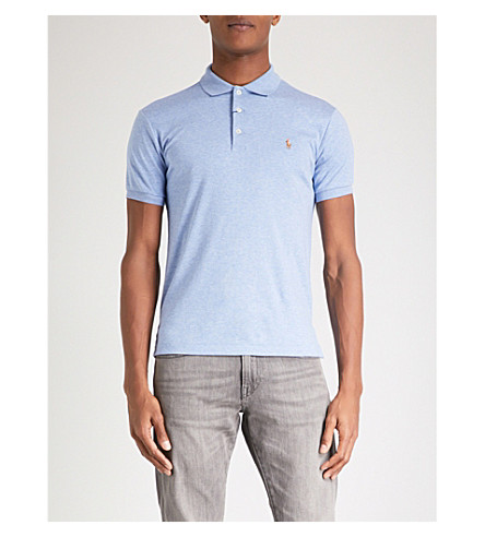 POLO RALPH LAUREN Slim-fit soft-touch cotton polo shirt (Jamaica+heather