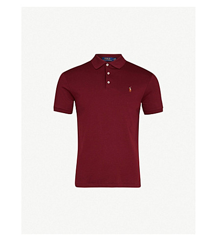 POLO RALPH LAUREN Slim-fit cotton-jersey polo shirt (Classic+wine