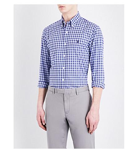 POLO RALPH LAUREN Slim-fit button-down pure cotton shirt (1526+dark+navy/
