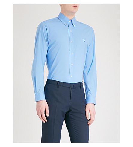 POLO RALPH LAUREN Logo-embroidered slim-fit cotton shirt (Nantucket+blue