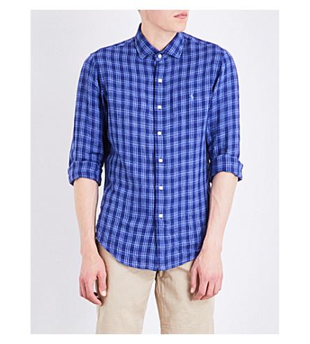 POLO RALPH LAUREN Check-print slim-fit linen shirt (1580+ocean+blue