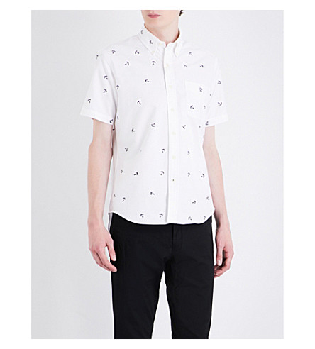 POLO RALPH LAUREN Anchor-embroidered slim-fit cotton shirt (Bsr+white