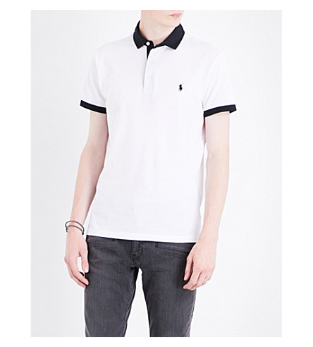 POLO RALPH LAUREN Contrast-detail cotton polo shirt (White