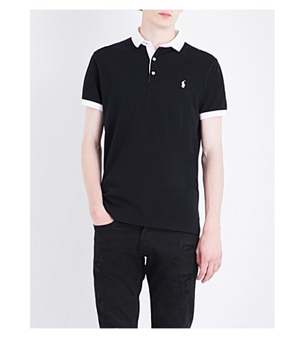 POLO RALPH LAUREN Contrast-detail cotton polo shirt (Polo+black