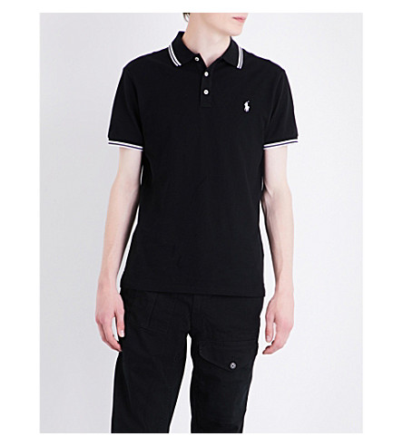 POLO RALPH LAUREN Contrast-trim cotton-mesh polo shirt (Polo+black