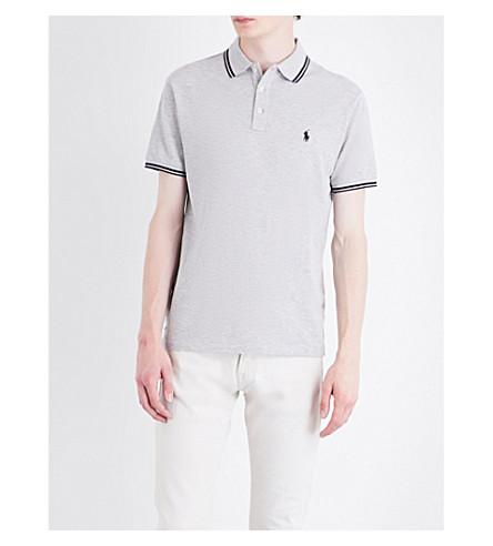 POLO RALPH LAUREN Contrast-trim cotton-mesh polo shirt (Spring+heather