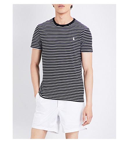 POLO RALPH LAUREN Striped cotton-jersey T-shirt (Polo+black/whit