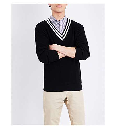 POLO RALPH LAUREN V-neck cotton jumper (Black+and+cream