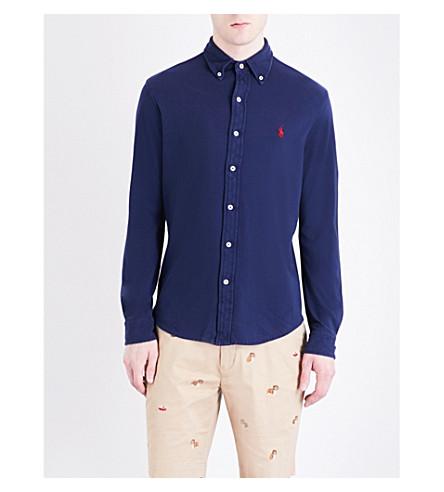 POLO RALPH LAUREN Regular-fit featherweight cotton-mesh shirt (Newport+navy