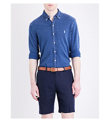 POLO RALPH LAUREN Regular-fit featherweight cotton-mesh shirt (Medium+indigo