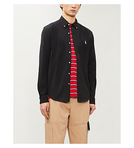 POLO RALPH LAUREN Slim-fit embroidered cotton-mesh shirt