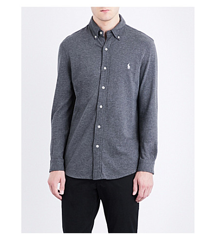 POLO RALPH LAUREN Regular-fit button-down cotton-mesh shirt (Stadium+grey+he
