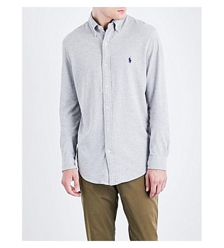 POLO RALPH LAUREN Regular-fit button-down cotton-mesh shirt (Spring+heather