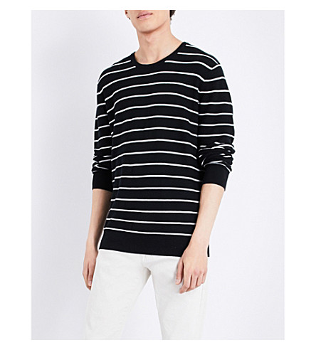 POLO RALPH LAUREN Striped cotton and cashmere-blend jumper (Black/white