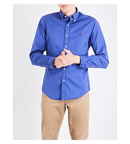 POLO RALPH LAUREN Button-down slim-fit cotton shirt (Charter+blue