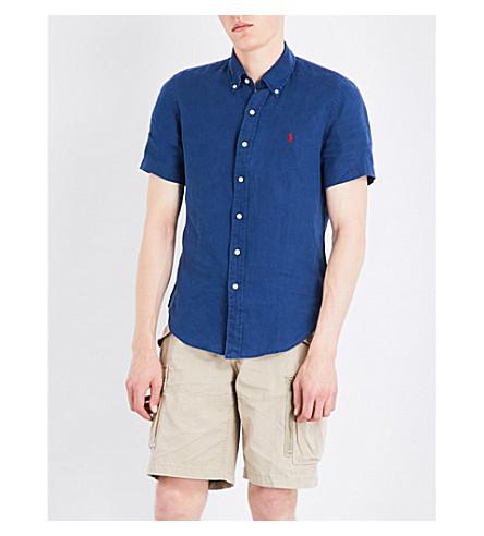POLO RALPH LAUREN Slim-fit button-down linen shirt (Holiday+navy