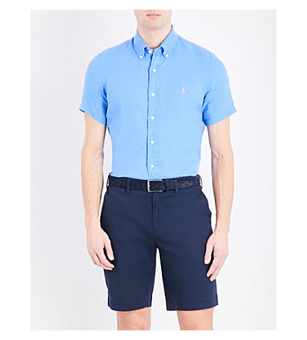 POLO RALPH LAUREN Slim-fit cotton short-sleeved shirt (Tower+blue