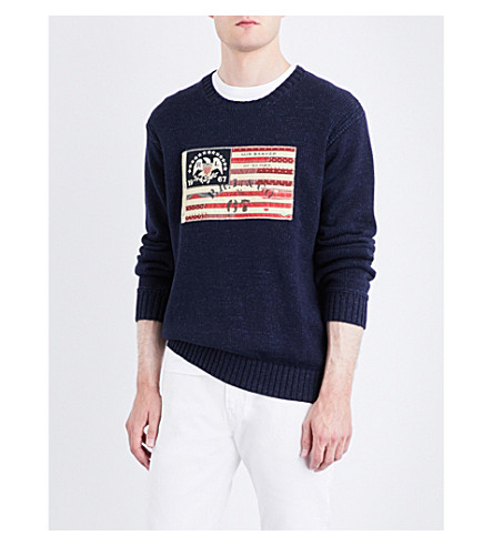 POLO RALPH LAUREN Flag-patch cotton sweater (Summer+navy