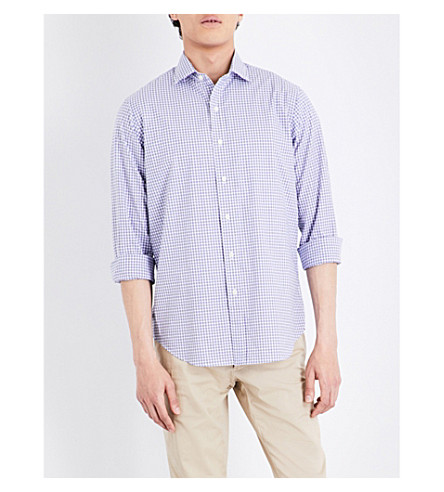 POLO RALPH LAUREN Checked regular-fit stretch-cotton shirt (1854+white/navy