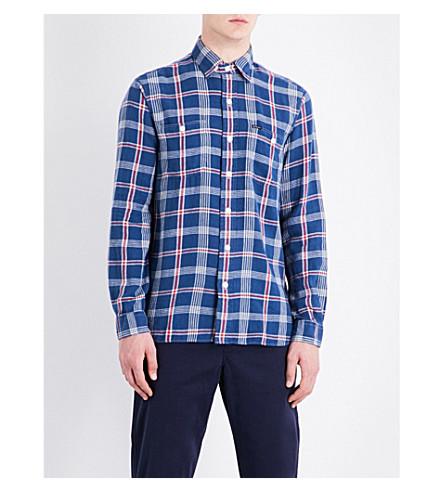 POLO RALPH LAUREN Checked slim-fit linen and cotton-blend shirt (1808+deep+blue/