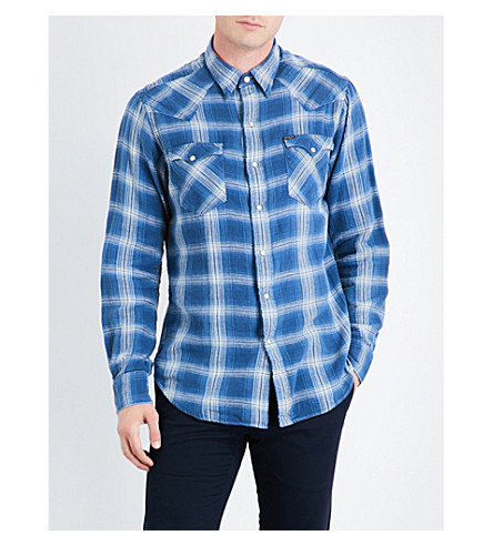 POLO RALPH LAUREN Plaid brushed cotton western shirt (1809+faded+blue