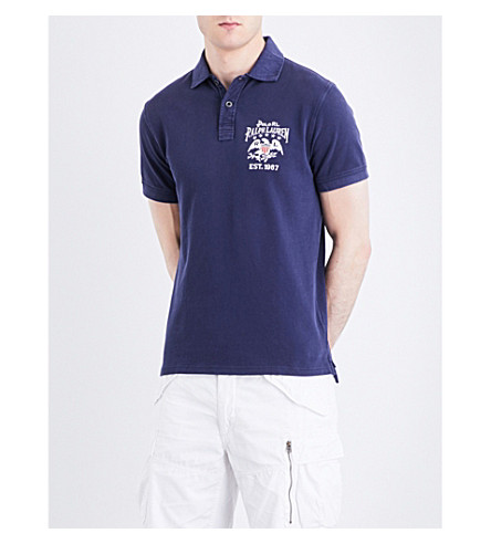 POLO RALPH LAUREN Flag-patch cotton-mesh polo shirt (Dark+cobalt