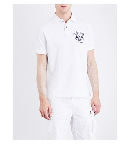 POLO RALPH LAUREN Flag-patch cotton-mesh polo shirt (Classic+oxford