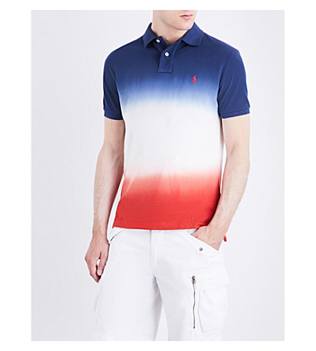POLO RALPH LAUREN Ombré cotton-mesh polo shirt (Dark+cobalt/whi