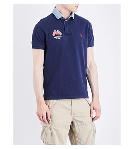 POLO RALPH LAUREN Embroidered-detail cotton-mesh polo shirt (Cruise+navy