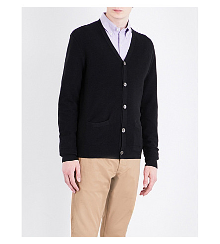 POLO RALPH LAUREN Fine-knit cashmere and wool-blend cardigan (Polo+black