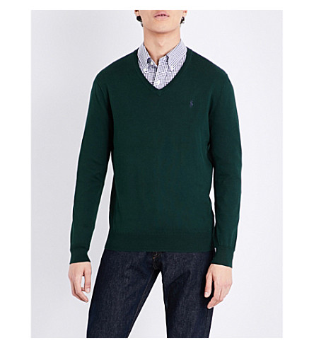POLO RALPH LAUREN Slim-fit V-neck cotton jumper (Deep+pine