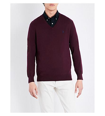 POLO RALPH LAUREN Slim-fit V-neck cotton sweater (Italian+red