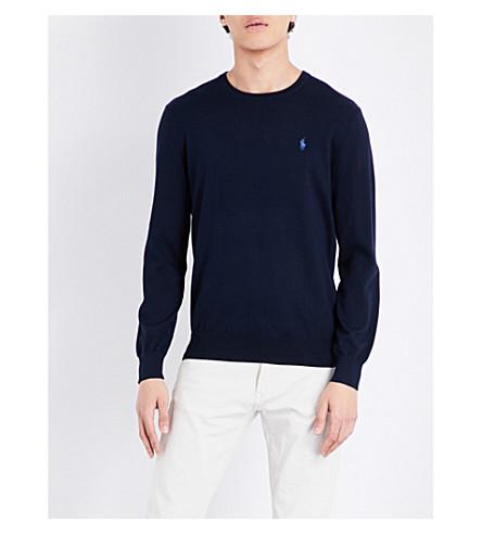 POLO RALPH LAUREN Slim-fit cotton jumper (Hunter+navy