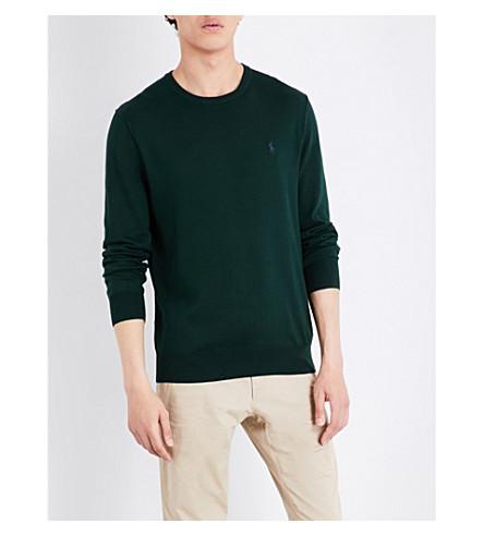 POLO RALPH LAUREN Slim-fit cotton sweater (Deep+pine