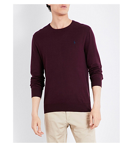 POLO RALPH LAUREN Slim-fit cotton jumper (Italian+red