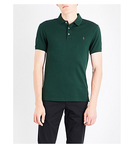 POLO RALPH LAUREN Slim-fit cotton-piqué polo shirt (Deep+pine