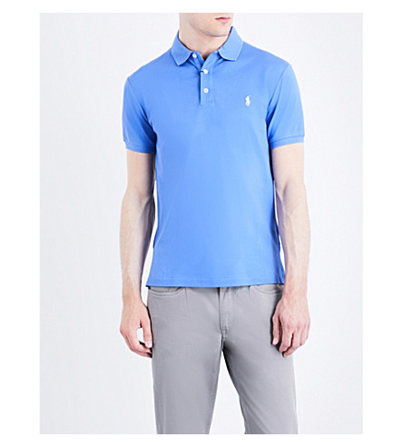 POLO RALPH LAUREN Slim-fit stretch cotton-mesh polo shirt (Scottsdale+blue