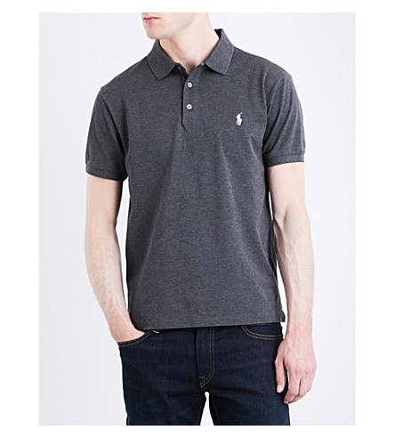 POLO RALPH LAUREN Slim-fit stretch cotton-mesh polo shirt (Stadium+grey+he