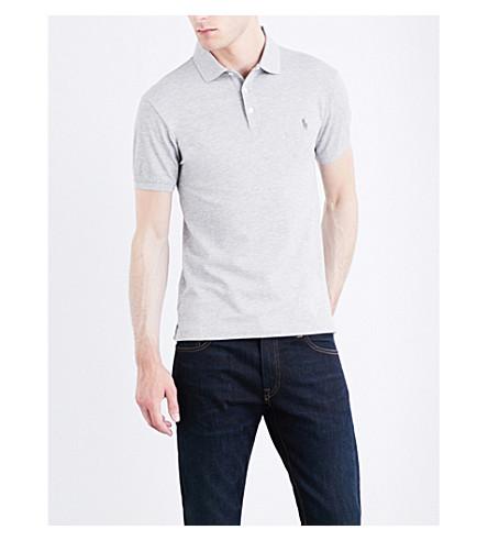 POLO RALPH LAUREN Slim-fit stretch cotton-mesh polo shirt (Spring+heather
