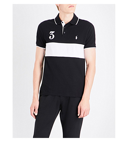 POLO RALPH LAUREN Slim-fit embroidered cotton-mesh shirt (Polo+black/whit