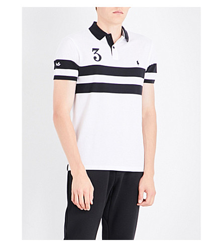 POLO RALPH LAUREN Striped cotton-pique polo shirt (White/polo+blac