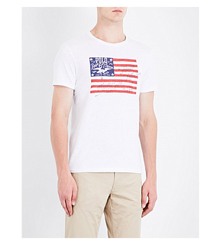 POLO RALPH LAUREN Flag-print cotton-jersey T-shirt (White