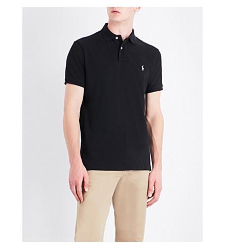 POLO RALPH LAUREN Logo-embroidered cotton-piqué polo shirt (Polo+black