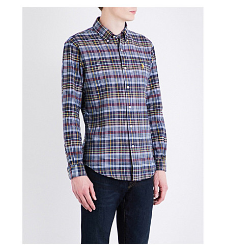 POLO RALPH LAUREN Checked slim-fit cotton shirt (1805+navy/yello